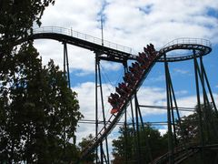 SkyRider (Canada's Wonderland) train on first drop.jpg