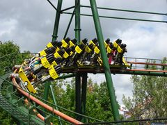 SkyRider (Canada's Wonderland) train in turn.jpg